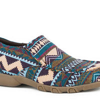 ROPER 09-021-1786-2433 WOMEN'S DRIVING MOCASSIN SLIP ON BLUE MULTI COLOR AZTEC FABRIC PATTERN *CLOSEOUT*