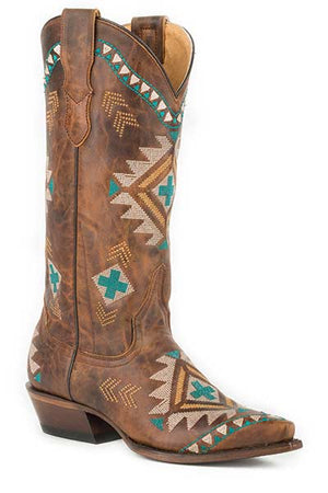 "Women's Roper 09-021-7622-1423 TA 13"" All Over Southwest Design Embroidery Tan Snip Toe"