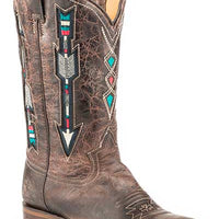 "Women's Roper 09-021-8022-1426 BR 12"" WONDER FIT Embroidered Arrow Design Brown Wide Square Toe"