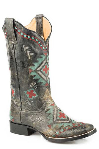 Women's Roper 09-021-8022-1428 BL Wonder Fit All Over Southwest Embroidery Black Wide Square Toe