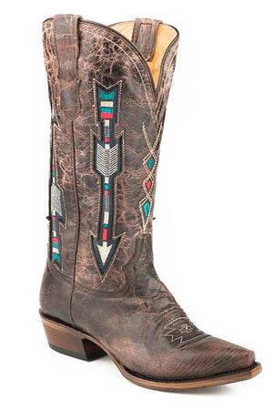 "Women's Roper 09-021-8126-1426 BR 13"" WONDER Fit Embroidered Arrow Design Brown Snip Toe"