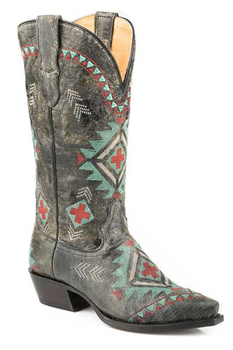 Women's Roper 09-021-8126-1428 BL Wonder Fit All Over Southwest Embroidery Black Snip Toe