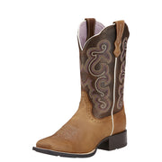 "Women's Ariat 10006304 Quickdraw 11"" Badlands Brown Wide Square toe"