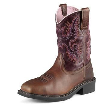 "Women's Ariat 10009494 Krista Steel Toe 9"" Dark Tan Wide Square toe"