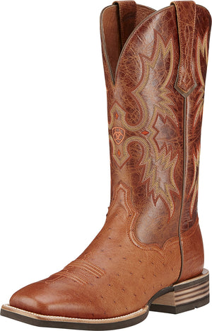 Ariat 10016277 Tombstone Brandy Smooth Ostrich Wide Square Toe