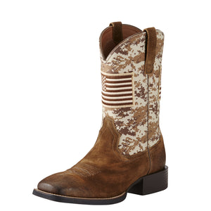 "Ariat 10019959 Sports Patriot 11"" Antq Mocha/Sand Camo Wide Square toe"