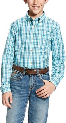 Ariat 10022244 BOYS ELLIS LONG SLEEVE PERFORMANCE SHOCKING PEACOCK SHIRT *Closeout*