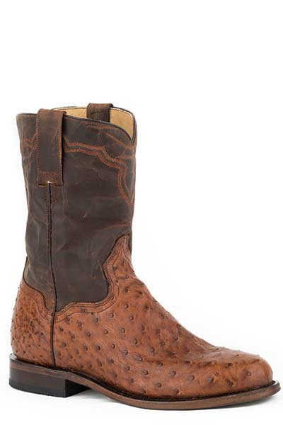 "Stetson 12-020-7606-0760 9"" Burnished Cognac Full Quill Ostrich Roper Boot"