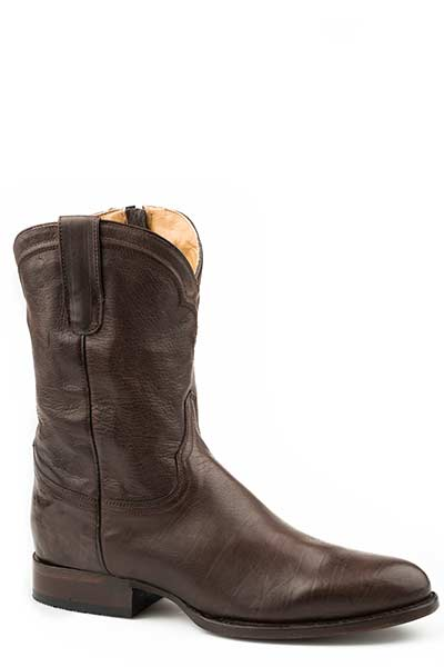 "Stetson 12-020-7608-0771 10"" Burnished Brown Roper w/Corded Crown Shaft & Side Zipper Boot"