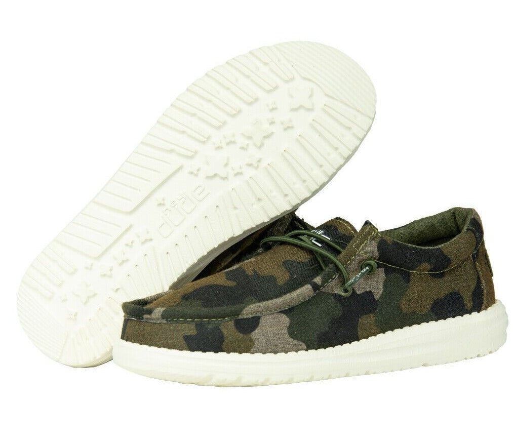 Hey Dudes 130157003 Wally Linen Youth Camo