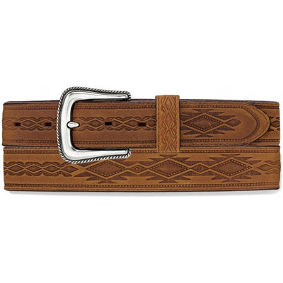 Tony Lama 1369L Dark Brown Navajo Blanket Tooled Belt