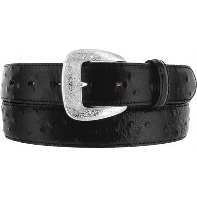 Tony Lama 1373L Black Ostrich Print Dress Belt