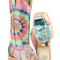 "SALE!! Women's Tin Haul 14-021-0007-1275 MU ""Groovy"" 13"" Tie Dye Wide Square Toe *CLOSEOUT*"