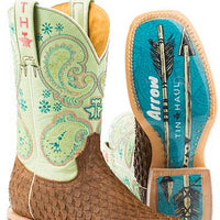 "Women's Tin Haul 14-021-0007-1351 BR ""PLUME"" 11"" 3D Feathered Brown Wide Square Toe"