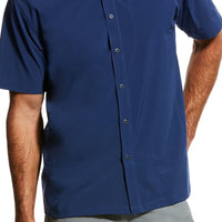 Ariat 10026660 MEN'S TEK Solitude Stretch Classic Fit Blue Pine Short Sleeve Shirt