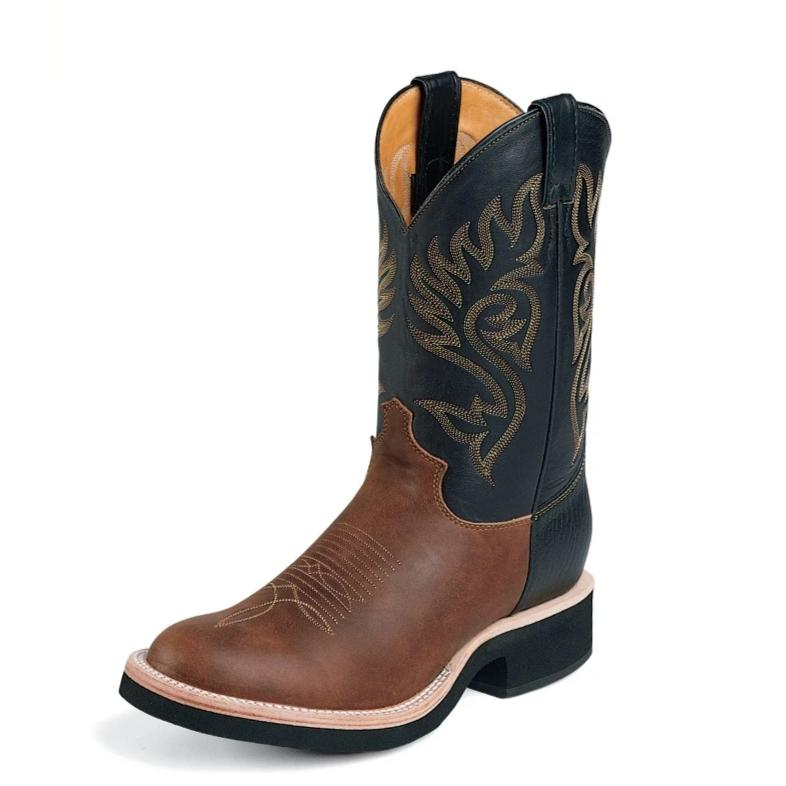 "Justin 5008 11"" Coffee Western with Black Top Round Toe"