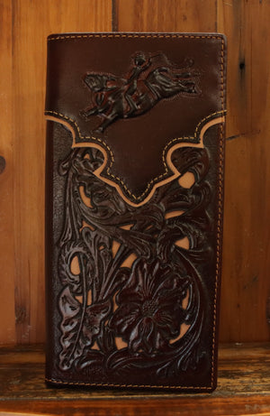 Coffee Bullrider w/Tan Inlay Wallet 5025-3CF