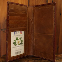 Manufacturers Direct 5029CF Coffee Tall Hair On Wallet with Longhorn Concho