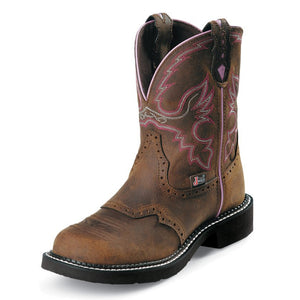 Justin WKL9980 Women's Wanette Brown Steel Toe Round Toe Boot
