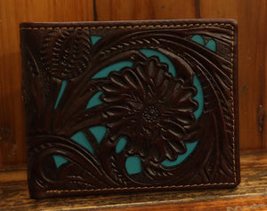 Coffee Floral Tooled w/Turquoise Inlay Bi-Fold 6506-1CF