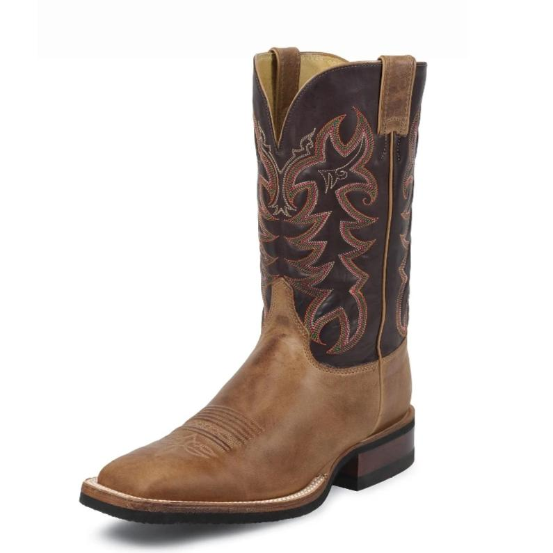 "Justin 7051 12"" American Tan Cowhide Wide Square Toe"