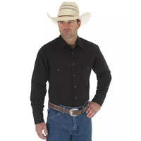 WRANGLER 71105BK BLACK LONG SLEEVE SOLID BROADCLOTH WESTERN SNAP SHIRT