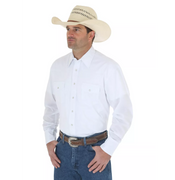 WRANGLER 71105WH WHITE LONG SLEEVE SOLID BROADCLOTH WESTERN SNAP SHIRT