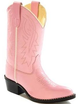 Old West 8119 Children's Pink Narrow J Toe