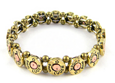 9MM Luger Bullet with Crystal Stretch Bracelet