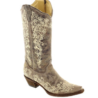 "Women's Corral A1094 13"" Brown Crater Bone Embroidery Snip Toe"