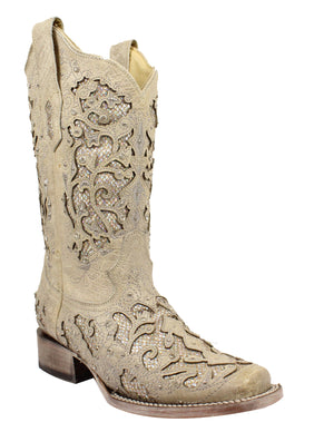 "Women's Corral A3397 12"" White Glitter Inlay & Crystals Square Toe"
