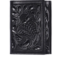 3D AW100 Black Western Trifold Wallet