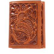 3D AW103 Natural Western Trifold Wallet