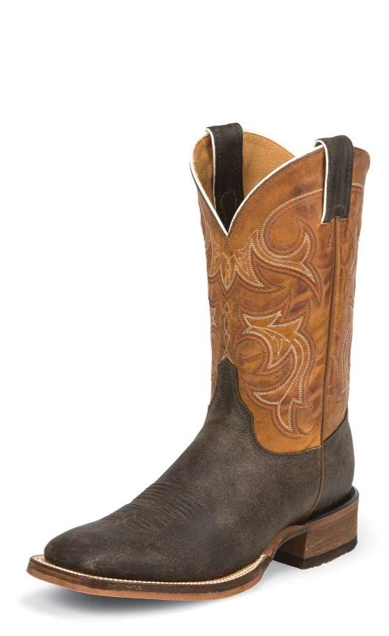 "Justin BR745 Caddo Bent Rail® 11"" Dark Brown Cowhide Wide Square Toe"