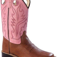 OLD WEST BSC1839 CHILDREN'S TAN w/PINK TOP WIDE SQUARE TOE