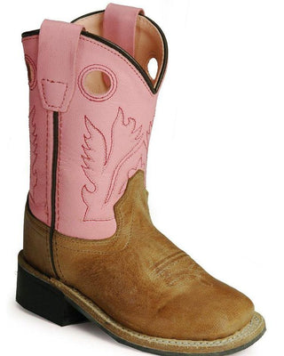 OLD WEST BSI1839 INFANT TAN w/PINK TOP WIDE SQUARE TOE