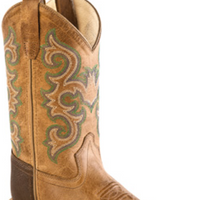 OLD WEST BSY1821 YOUTH TAN WIDE SQUARE TOE *Closeout*