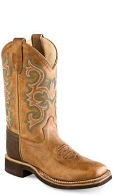 OLD WEST BSY1821 YOUTH TAN WIDE SQUARE TOE