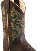 OLD WEST BSY1822 YOUTH CHOCOLATE WIDE SQUARE TOE