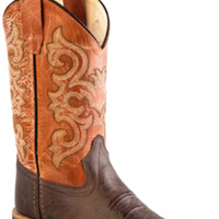 OLD WEST BSY1823 YOUTH DARK BROWN WIDE SQUARE TOE