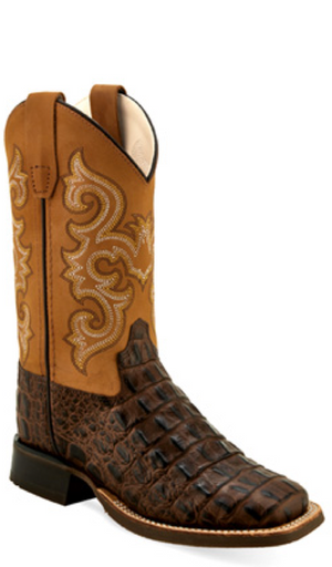 OLD WEST BSY1832 YOUTH BROWN CAIMAN PRINT WIDE SQUARE TOE