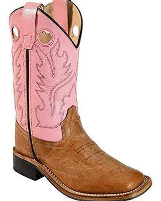 OLD WEST BSY1839 YOUTH TAN w/PINK TOP WIDE SQUARE TOE