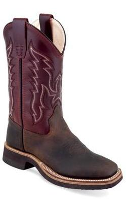 OLD WEST BSY1889 YOUTH CHOCOLATE W/BURGUNDY TOP WIDE SQUARE TOE