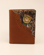 3D BW022 TRIFOLD TAN DISTRESSED W/CAMO CORNER WALLET
