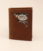 3D BW114 TRIFOLD TAN DISTRESSED W/CAMO CORNER WALLET