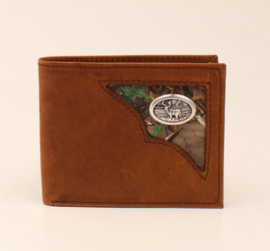 3D BW116 TAN DISTRESSED BIFOLD W/CAMO CRNR & DEER CONCHO WALLET