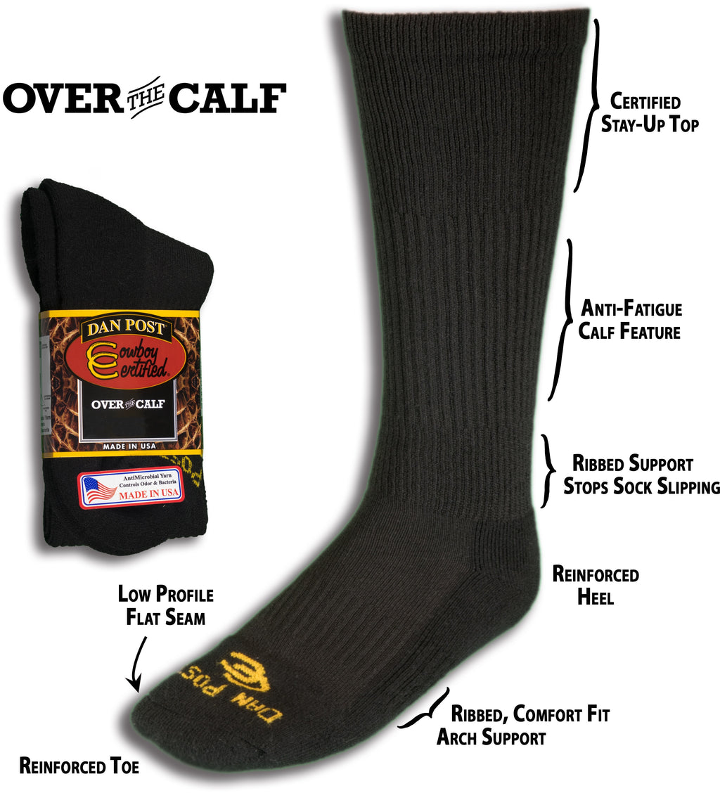 DAN POST MEN'S OVER THE CALF SOCKS DPCBC9-BK/DPCBC10-BK