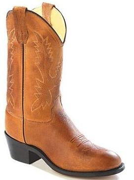 Old West CCY1129G Youth Tan Round Toe