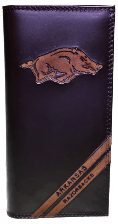 Zep-Pro IWD4BRW-UAR Arkansas Razerbacks Tall Debossed Brown Leather Wallet