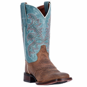 "Women's Dan Post DP2863 11"" Sand/Blue San Michelle CC Wide Square Toe *CLOSEOUT*"